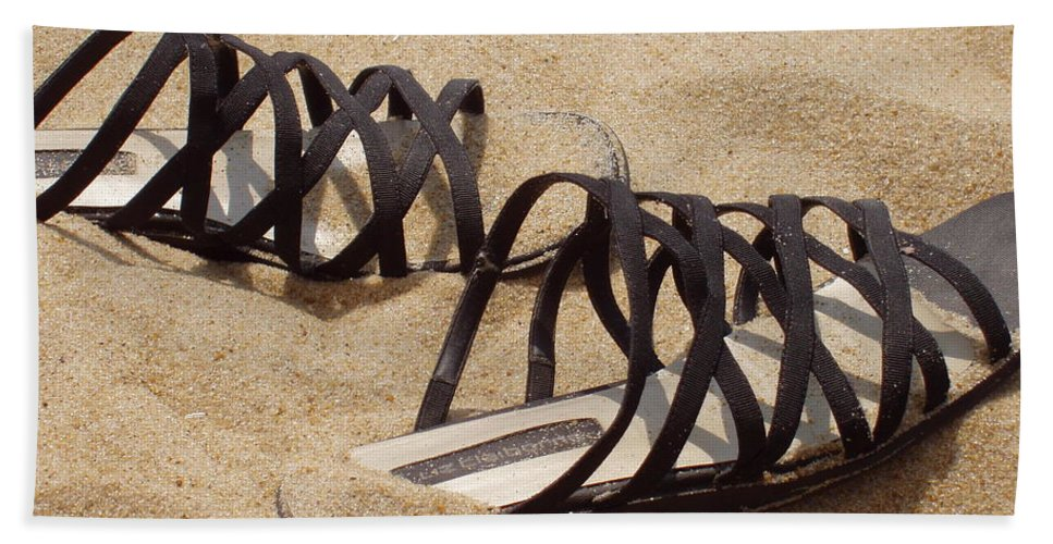 Shoes Beach Towel featuring the photograph Sand Shoes I by Deborah Crew-Johnson