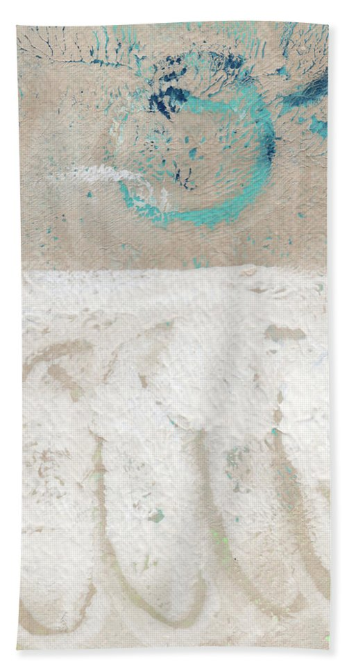 Abstract Beach Towel featuring the painting Sandcastles- Abstract Painting by Linda Woods