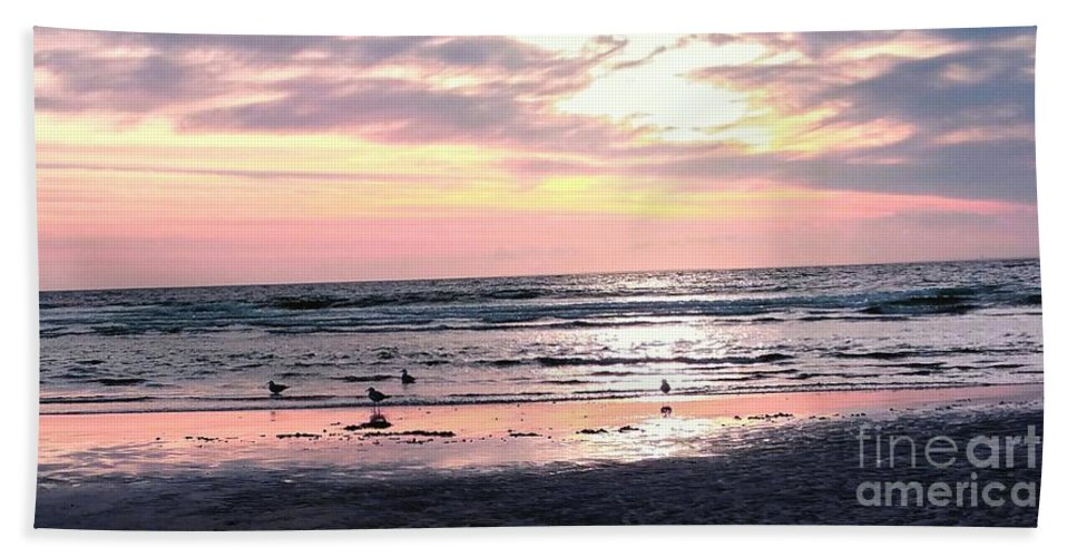 Sandpipers Beach Towel featuring the photograph Sandpipers At Old Silver by Christine Chepeleff