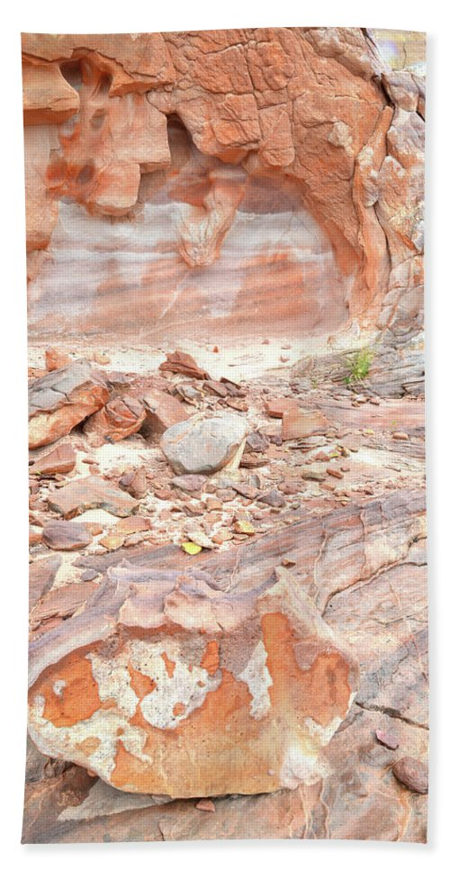 Valley Of Fire State Park Beach Towel featuring the photograph Sandstone Colors In Wash 3 - Valley Of Fire by Ray Mathis