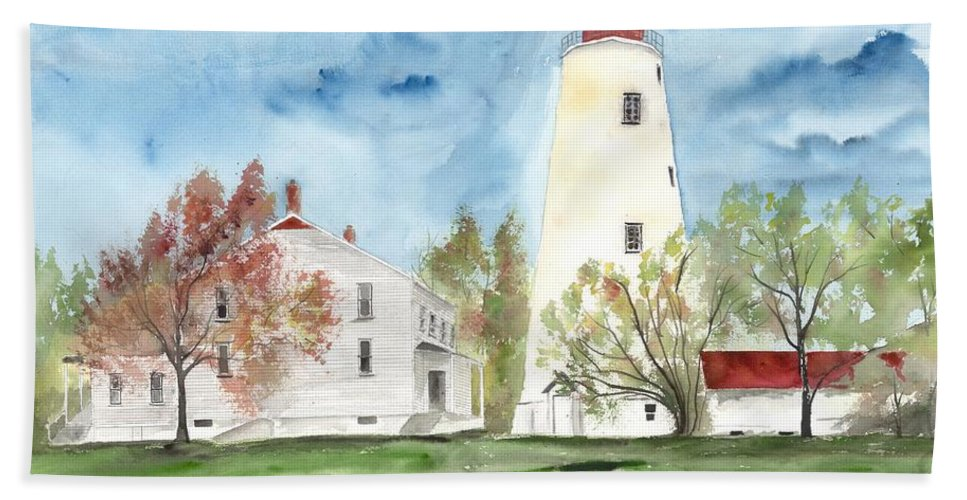 Watercolor Beach Towel featuring the painting Sandy Hook Lighthouse by Derek Mccrea