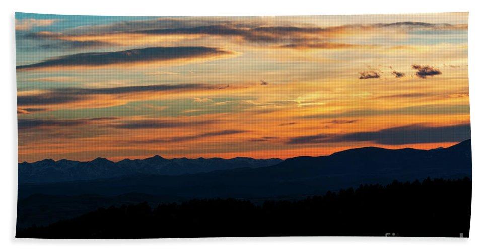 Sunset Beach Towel featuring the photograph Sangre De Cristo Mountain Sunst by Steve Krull
