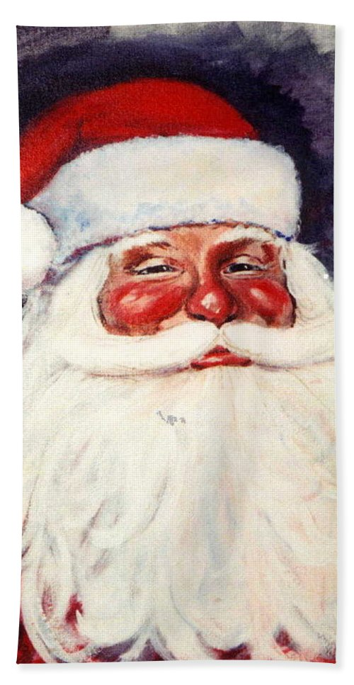 Portrait Beach Towel featuring the painting Santa 1 by Ronald Dill