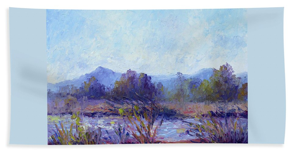 Art Beach Towel featuring the painting Santa Ana River by Terry Chacon