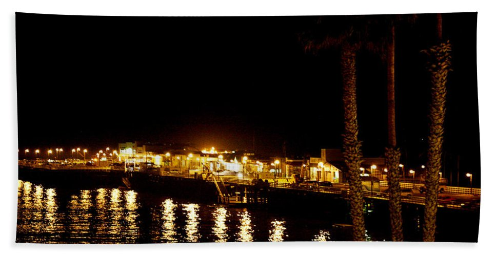 Pier Beach Towel featuring the photograph Santa Cruz Pier At Night by Marilyn Hunt