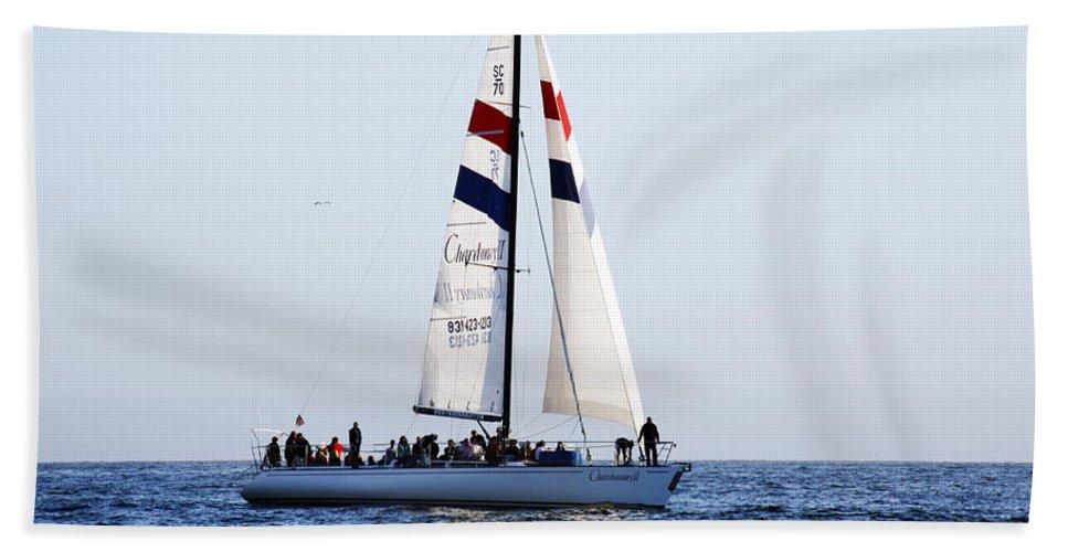 Santa Cruz Beach Towel featuring the photograph Santa Cruz Sailing by Marilyn Hunt