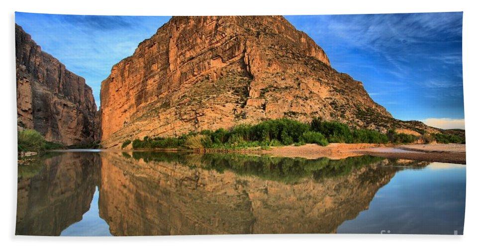 Santa Elena Canyon Beach Towel featuring the photograph Santa Elena Canyon Morning Reflections by Adam Jewell