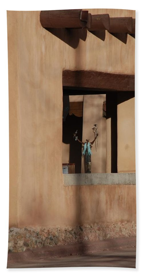 Santa Fe Beach Towel featuring the photograph Santa Fe Adobe Window by Rob Hans