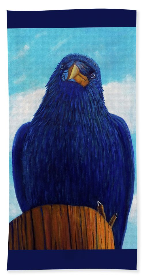 Raven Beach Towel featuring the painting Santa Fe Smile by Brian Commerford