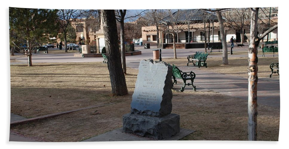 Parks Beach Towel featuring the photograph Santa Fe Trail Marker by Rob Hans