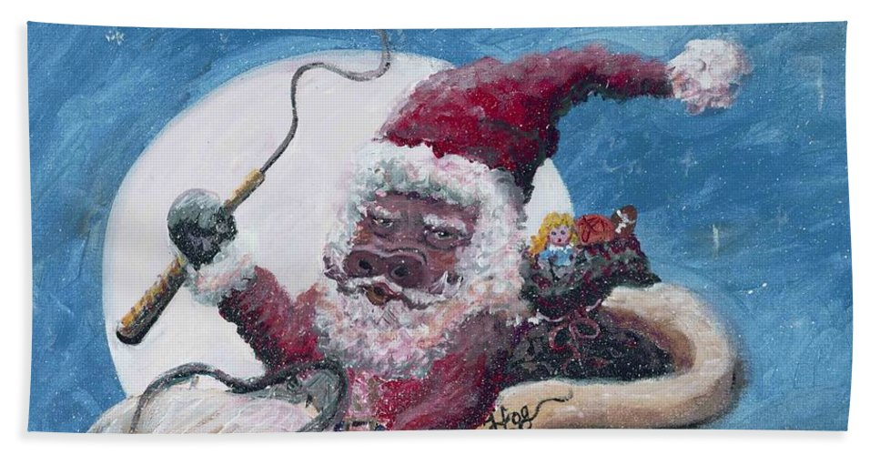 Christmas Beach Sheet featuring the painting Santa Hog by Nadine Rippelmeyer