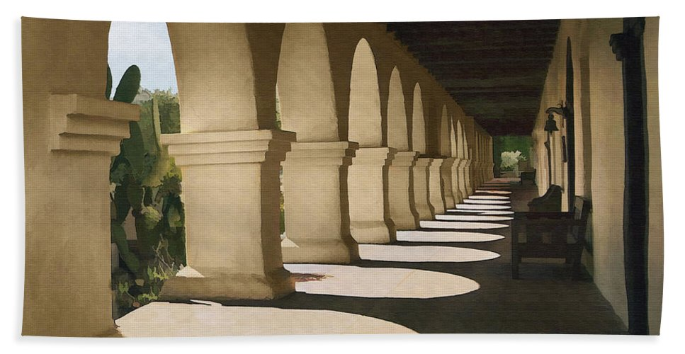 Mission Beach Towel featuring the digital art Santa Inez Arches by Sharon Foster