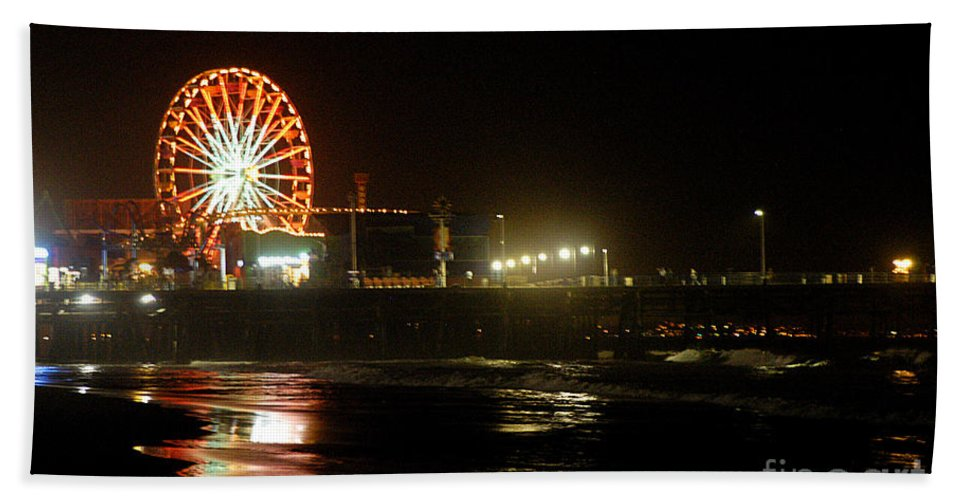 Clay Beach Towel featuring the photograph Santa Monica Pier by Clayton Bruster