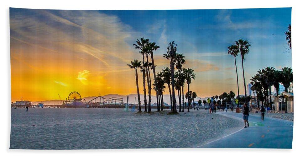 Santa Monica Sunset Beach Towel featuring the photograph Santa Monica Sunset by Az Jackson