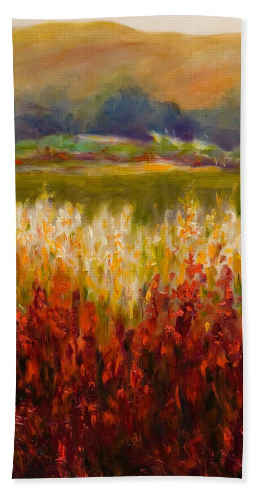 Landscape Beach Sheet featuring the painting Santa Rosa Valley by Shannon Grissom