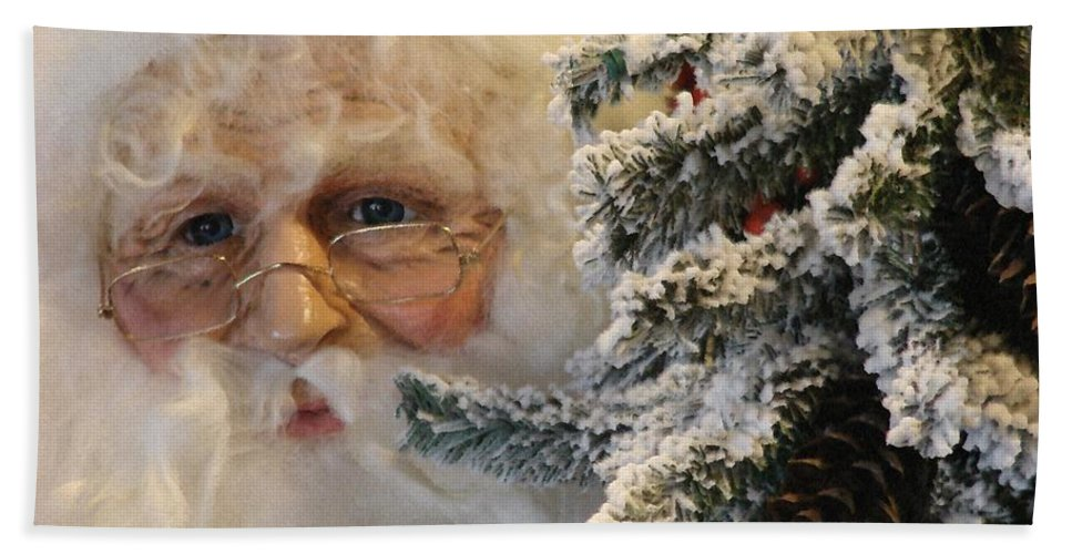 Santa Claus Beach Towel featuring the photograph Santa Sees You by Bob Carey