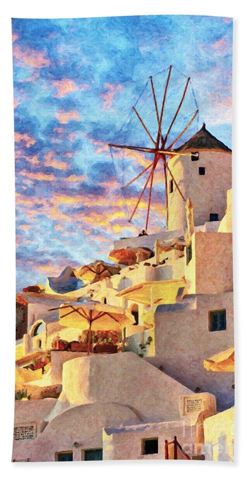 Digital Beach Towel featuring the painting Santorini Windmill At Oia Digital Painting by Antony McAulay
