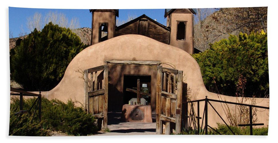Church Beach Towel featuring the photograph Santuario De Chimayo Adobe Chapel by Carol Milisen