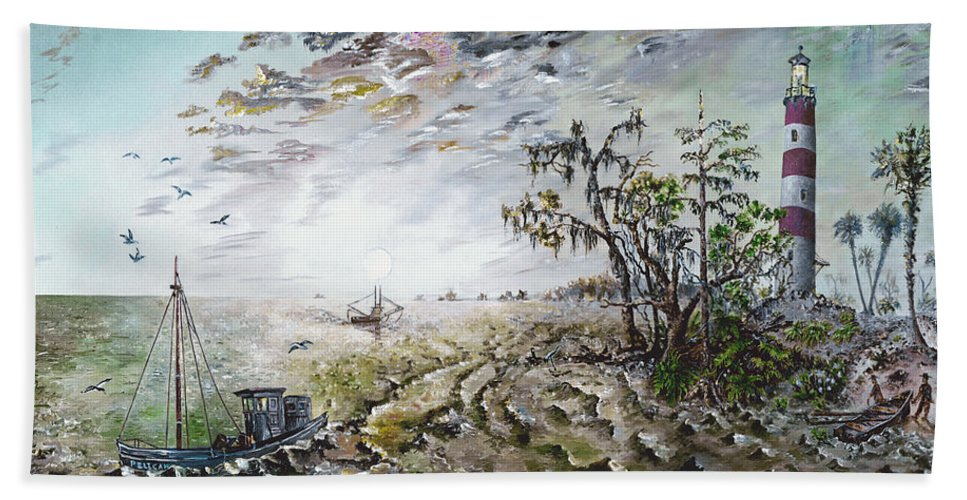 Lighthouse Beach Towel featuring the painting Sapelo Island by Richard Barham