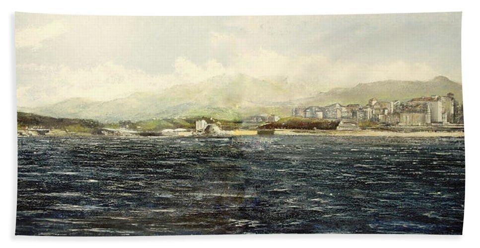 Sardinero Beach Towel featuring the painting Sardinero y Magdalena by Tomas Castano