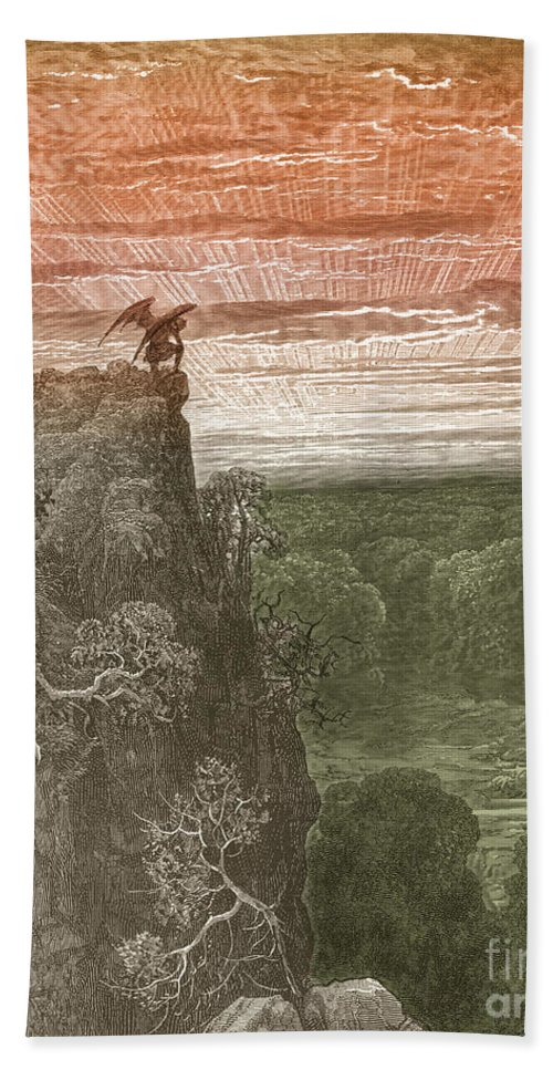 History Beach Towel featuring the photograph Satan, By Dore by Photo Researchers