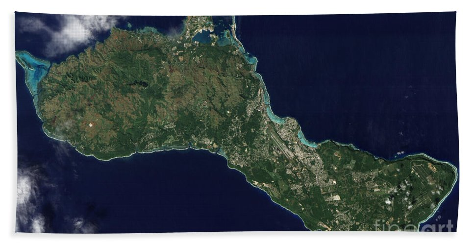 Coastline Beach Towel featuring the photograph Satellite View Of The Island Of Guam by Stocktrek Images