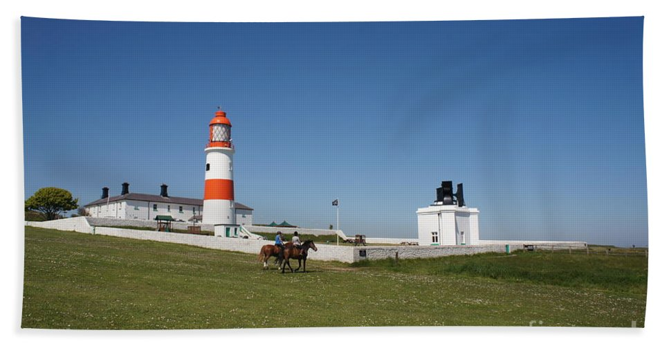 Lighthouse Beach Towel featuring the photograph Souter Lighthouse And Foghorn. by Elena Perelman