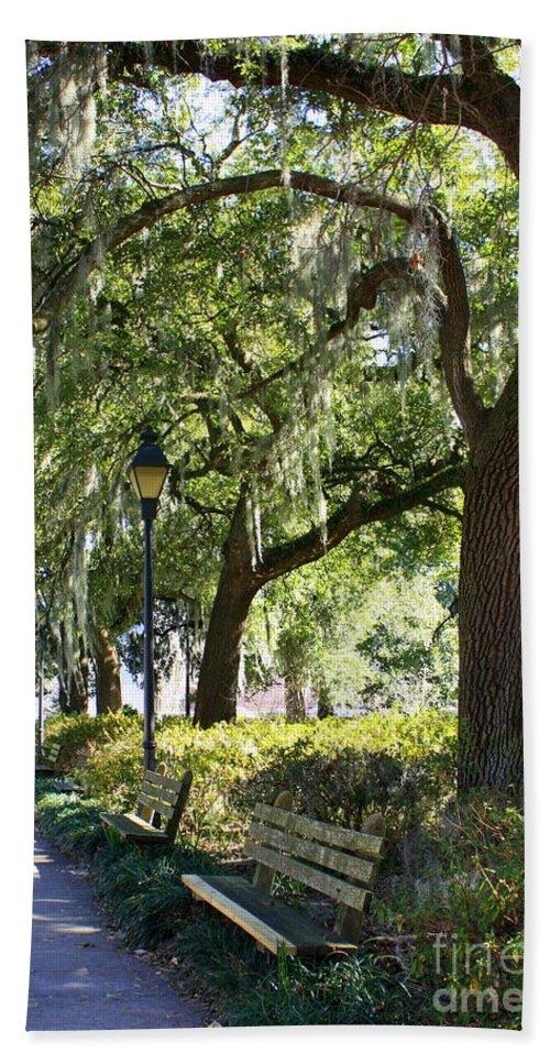 Parks Beach Towel featuring the photograph Savannah Benches by Carol Groenen