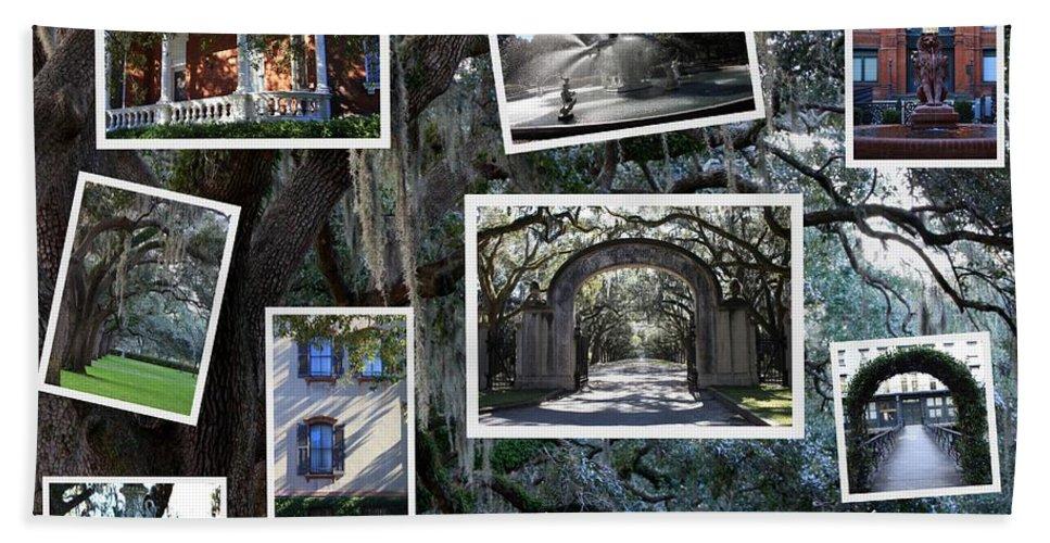 Savannah Cityscape Beach Towel featuring the photograph Savannah Scenes Collage by Carol Groenen