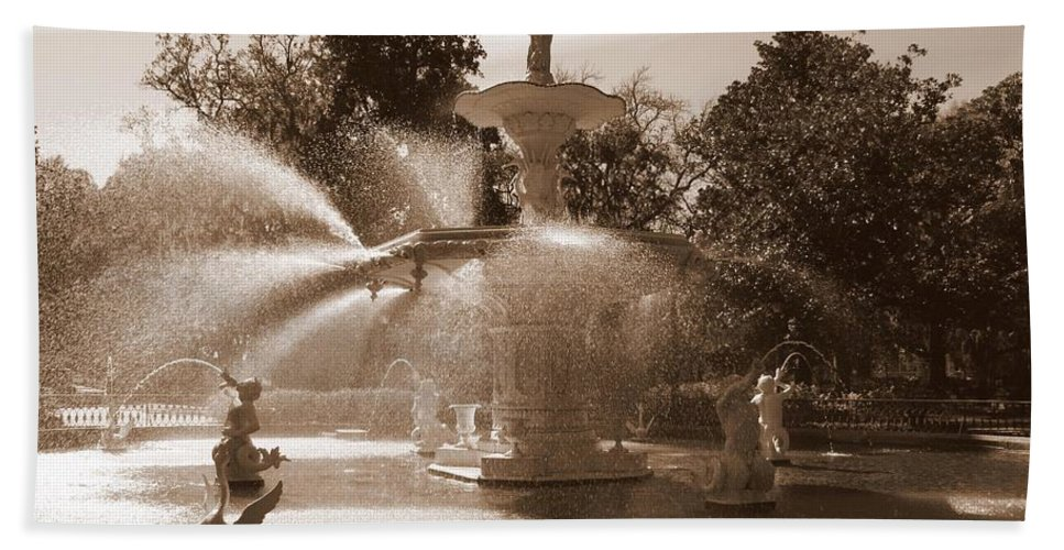 Savannah Beach Towel featuring the photograph Savannah Sepia - Forsyth Fountain by Carol Groenen