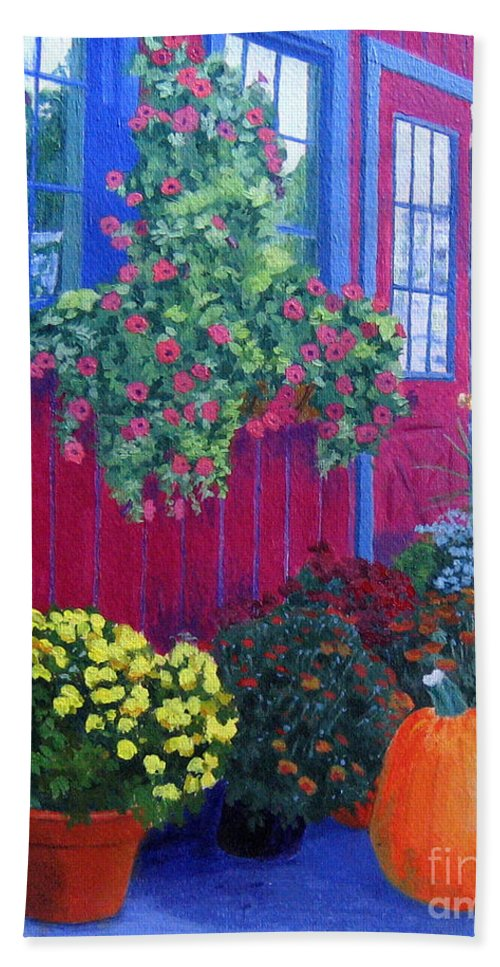 Acrylic Beach Towel featuring the painting Savickis Market by Lynne Reichhart