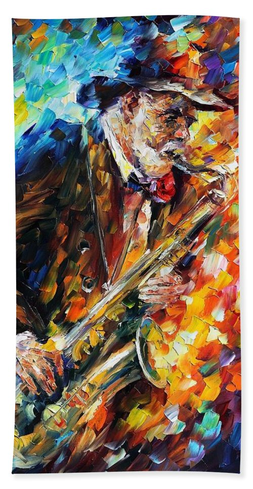 Afremov Beach Towel featuring the painting Saxophonist by Leonid Afremov
