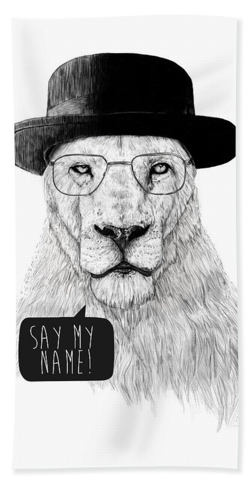 Lion Beach Towel featuring the mixed media Say My Name by Balazs Solti
