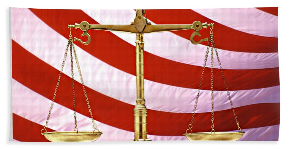 Photography Beach Towel featuring the photograph Scales Of Justice American Flag by Panoramic Images