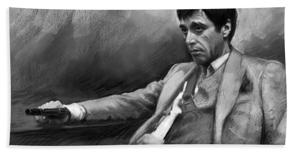 Al Pacino Beach Towel featuring the pastel Scarface 2 by Ylli Haruni