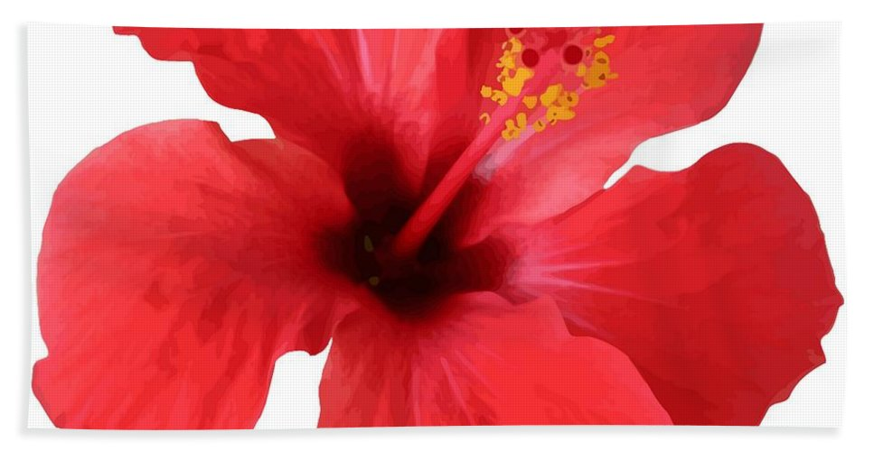 Hibiscus Beach Towel featuring the digital art Scarlet Hibiscus Tropical Flower by Taiche Acrylic Art