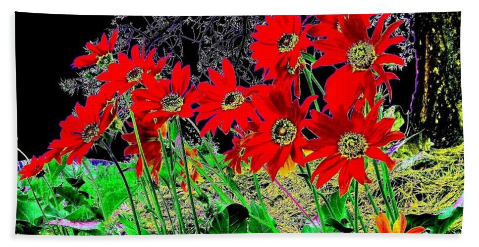 Abstract Beach Towel featuring the digital art Scarlet Night by Will Borden