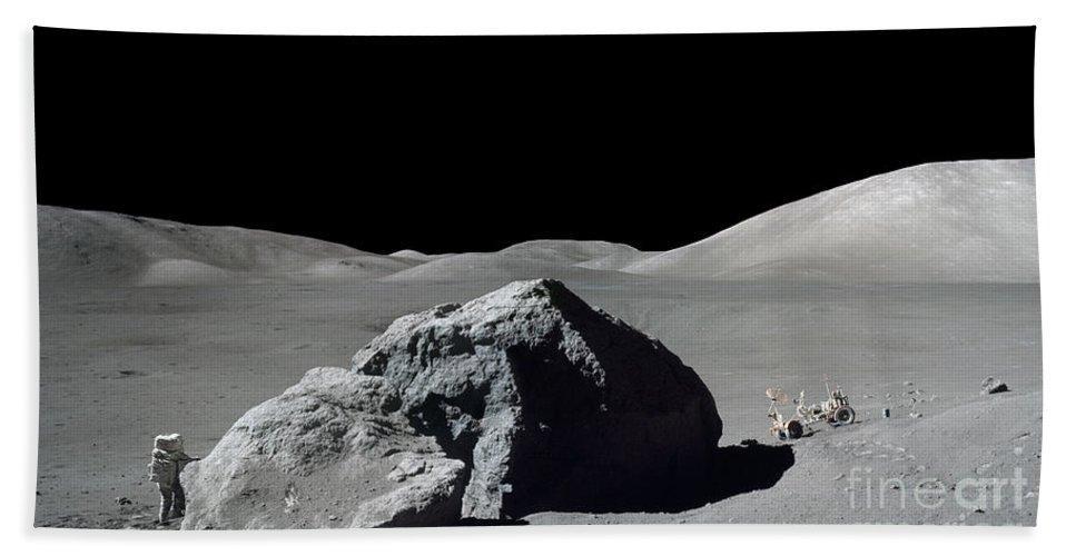 Adults Only Beach Towel featuring the photograph Scene From Apollo 17 Extravehicular by Stocktrek Images