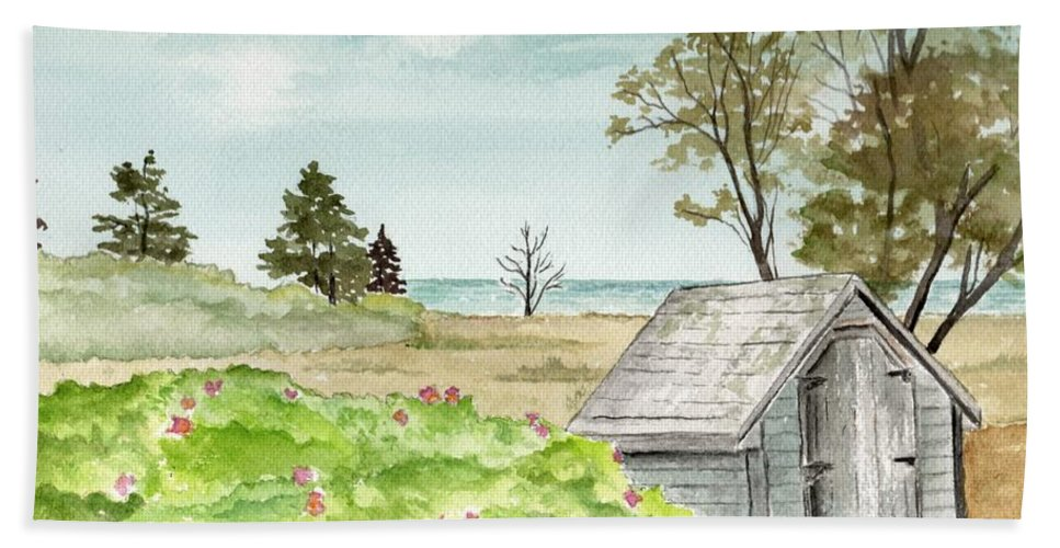Landscape Watercolor Scenery Scenic Trees Roses Shed Building Art Painting Maine Beach Towel featuring the painting Scenic Maine  by Brenda Owen