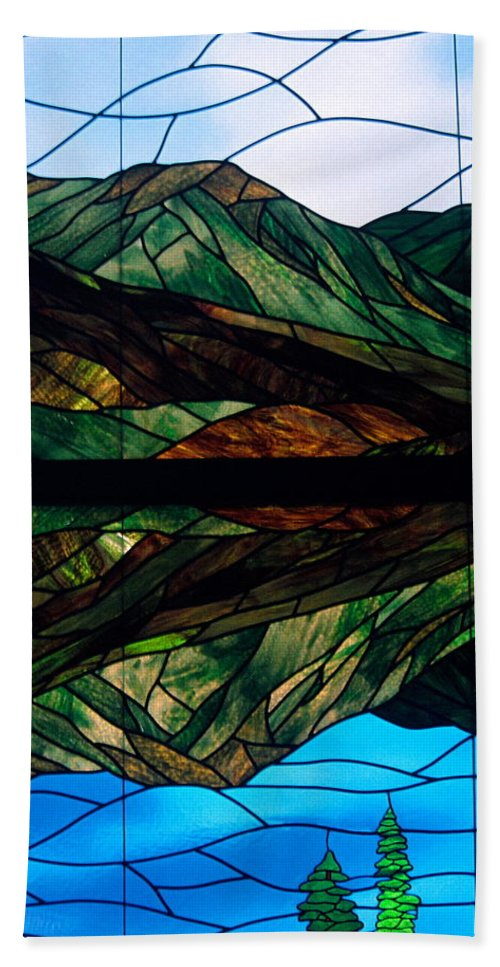 Stained Glass Scene Beach Towel featuring the photograph Scenic Stained Glass by Sally Weigand