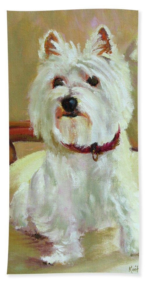 Pet Beach Towel featuring the painting Schatzie by Keith Burgess