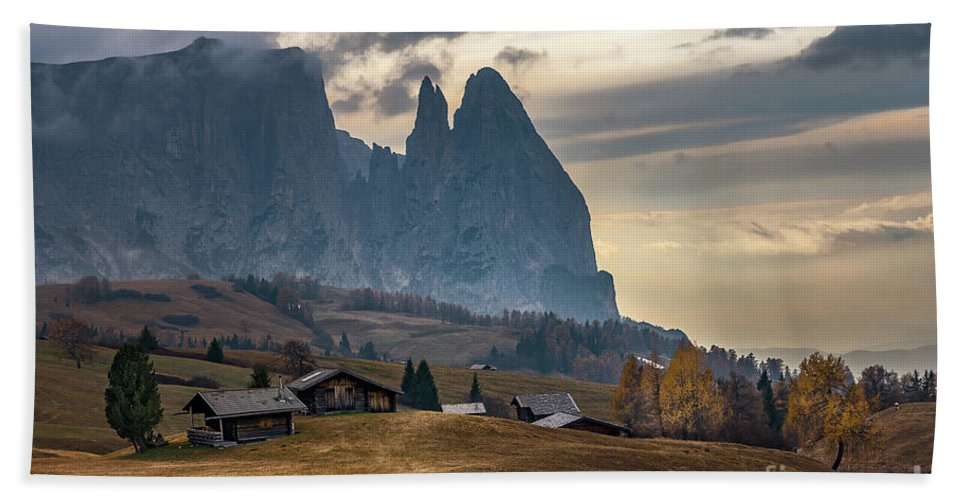 Schlern Beach Towel featuring the photograph Schlern Peak - Alpe Di Siusi by Elias Pentikis