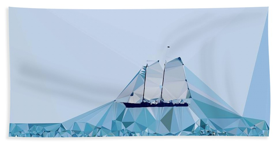 Abstract Beach Towel featuring the digital art Schooner, Abstracted by Sandy Taylor