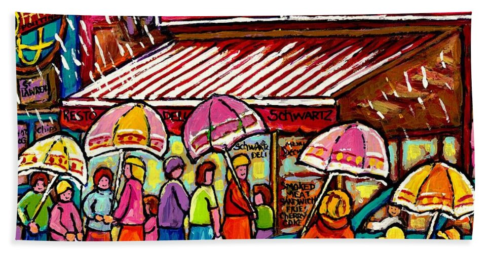 Schwartz The Musical Montreal Beach Towel featuring the painting Schwartz's Deli Rainy Day Line-up Umbrella Paintings Montreal Memories April Showers Carole Spandau by Carole Spandau