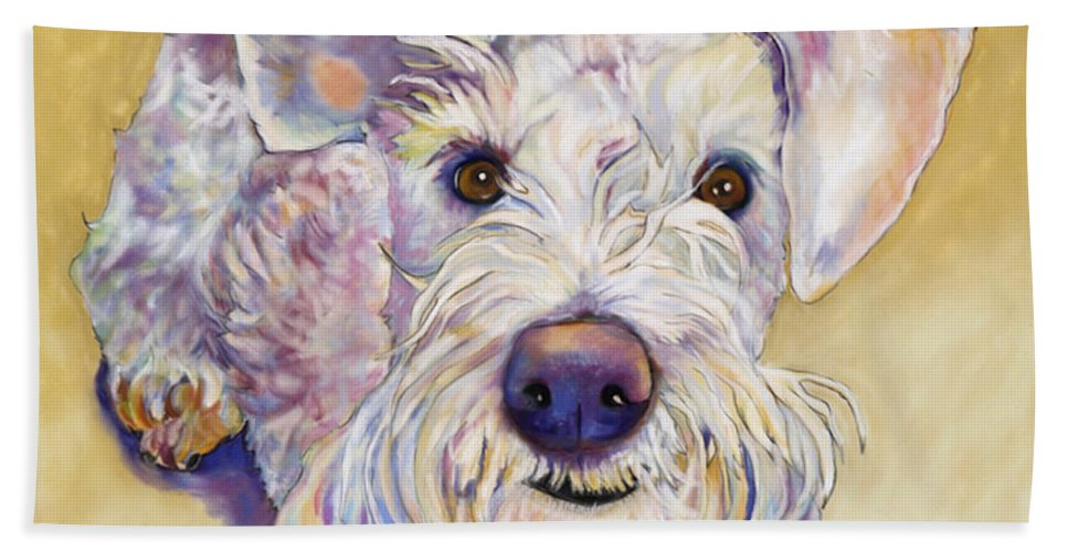 Schnauzer Beach Towel featuring the pastel Scooter by Pat Saunders-White