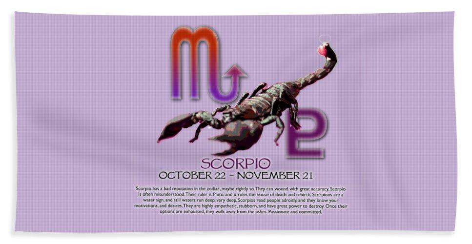 Scorpio Beach Towel featuring the digital art Scorpio Sun Sign by Shelley Overton