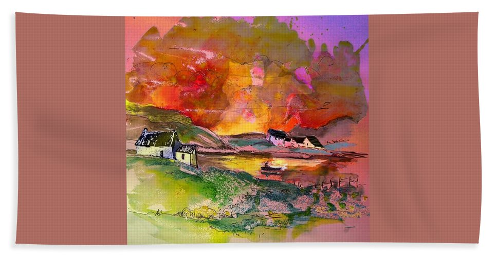 Scotland Paintings Beach Sheet featuring the painting Scotland 07 by Miki De Goodaboom