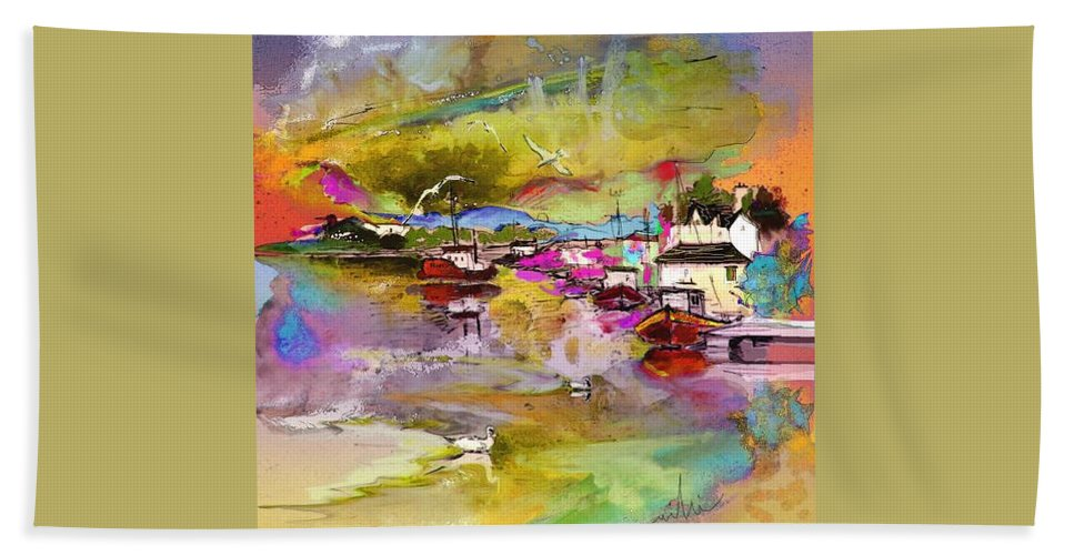 Scotland Paintings Beach Towel featuring the painting Scotland 13 by Miki De Goodaboom