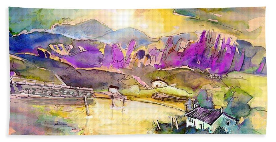 Scotland Beach Towel featuring the painting Scotland 19 by Miki De Goodaboom