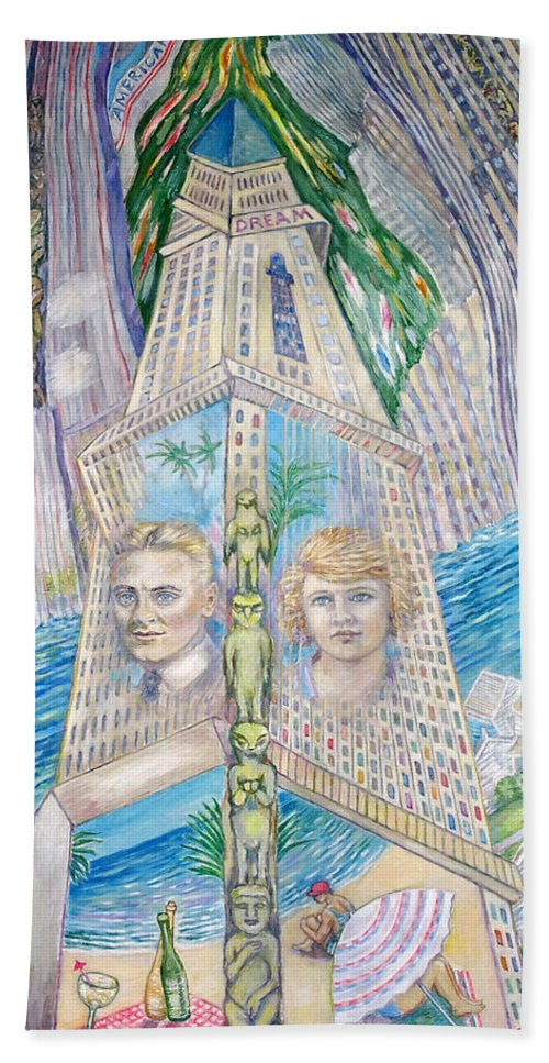 New York Fantasy Beach Sheet featuring the painting Scott And Zelda In Their New York Dream Tower by Patricia Buckley